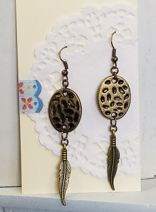 Bronze Hammered Disk & Feather Drop Dangle Earrings