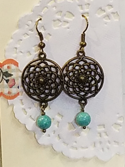 Bronze Dreamcatcher and Turquoise Dangle Beaded Earrings