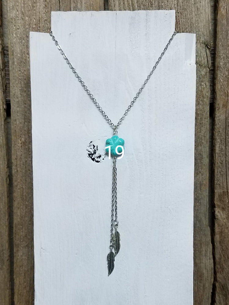 Silver Feather Lariat with Turquoise Accent Necklace