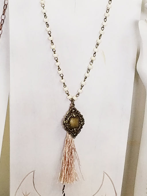 Bronze Tassel French Charm Necklace