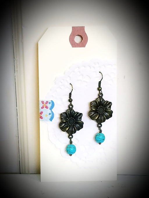 Bronze Floral Flower Drop Dangle Earrings