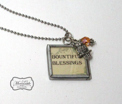 Bountiful Blessings Owl Charm Silver Necklace