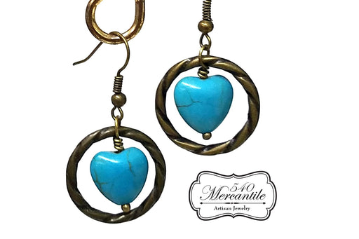 Bronze Links Turquoise Hearts Beaded Dangle Earrings