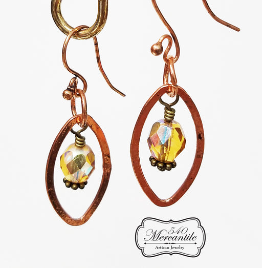 Bronze and Copper Amber Beaded Dangle Earrings