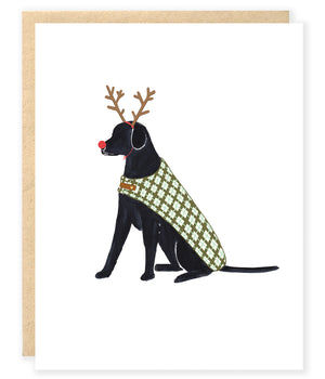 black labrador dog with rudolf red nose and antlers and plaid cale christmas holiday greeting card