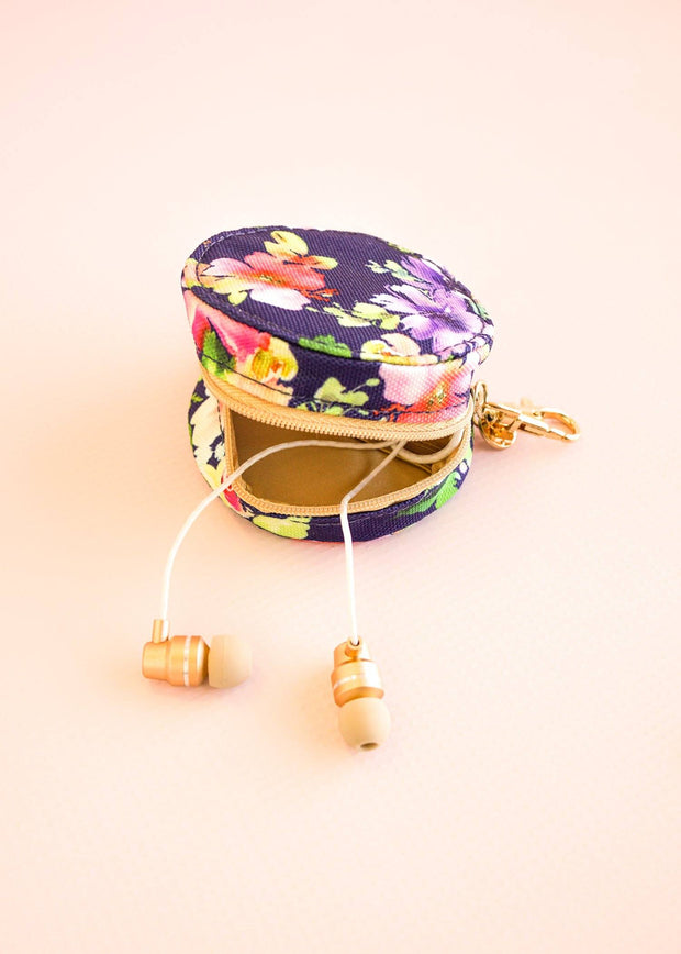 Floral Key Fob and Earbud Case