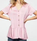 """Kara"" Button up Peplum Top"