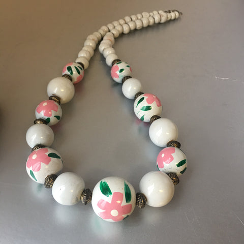 Pink Flowers Wooden Necklace Vintage Handmade Jewelry