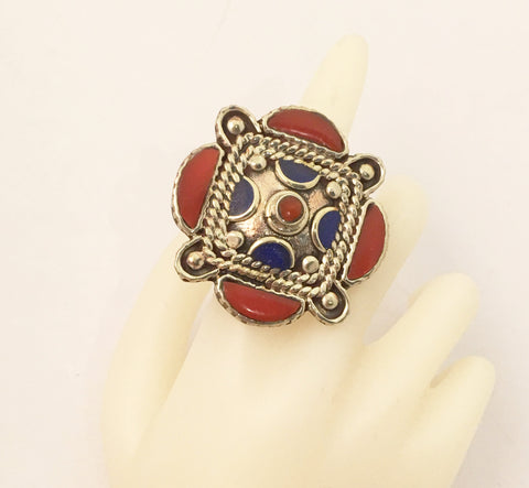 Lapis Lazuli Red Coral Massive Cocktail Ring Statement Jewelry made in Tibet