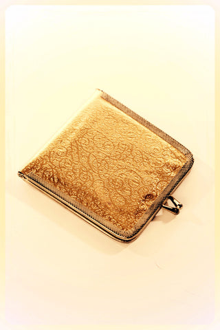 Metallic Golden Compact Dual Mirror Retro Wallet Vintage Accessory