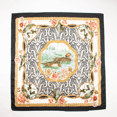 Duck Birds Family Floral Scarf Vintage Accessories