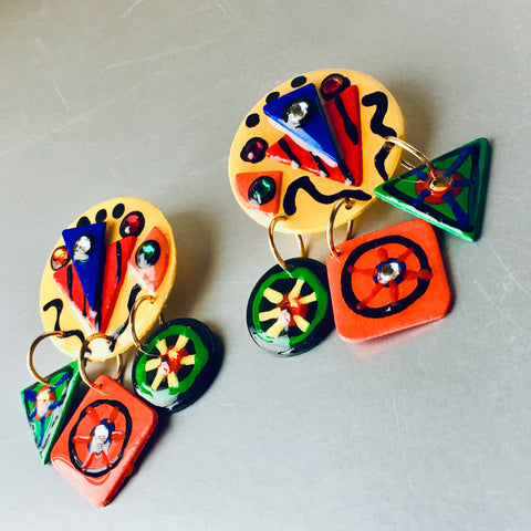 Mami Abstract Colorful Handmade Earrings Vintage Jewelry