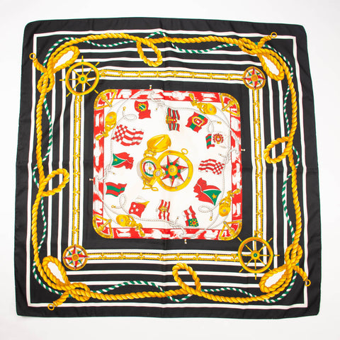 Nautical Black Gold Green Red Scarf Vintage Accessories