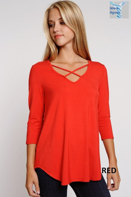 Crisscross v-neck 3/4 SLEEVE TOP-5 COLOR OPTIONS