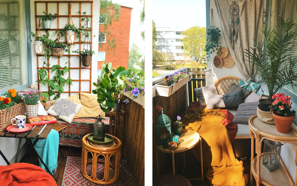 Eclectic boho apartment balcony | House Tour on The Inkabilly Blog