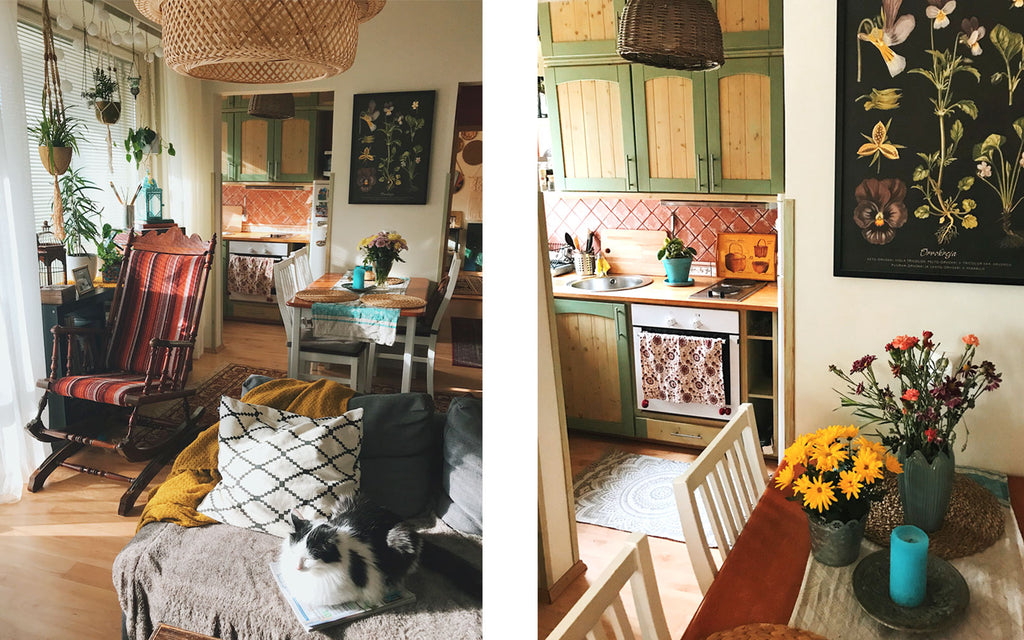 Eclectic boho apartment kitchen and dining room | House Tour on The Inkabilly Blog