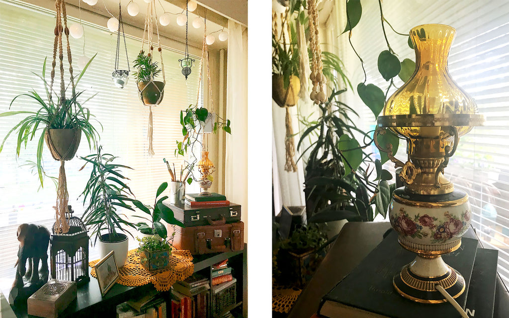 Eclectic boho apartment. House plants and vintage lamp | House Tour on The Inkabilly Blog