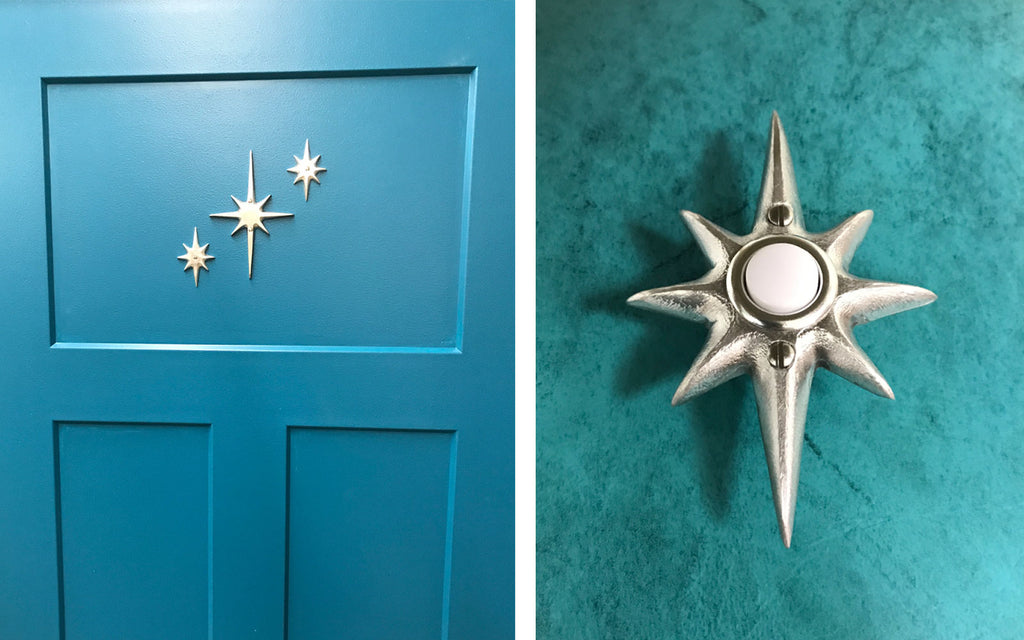 Decorative Atomic Star Door plate and doorbell by Vintage Revival Art Co. The Inkabilly Blog