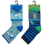 Boys 3 Pack Cotton Rich Shark/Crocodile Design Ankle Socks (Block Sizes) 42B600