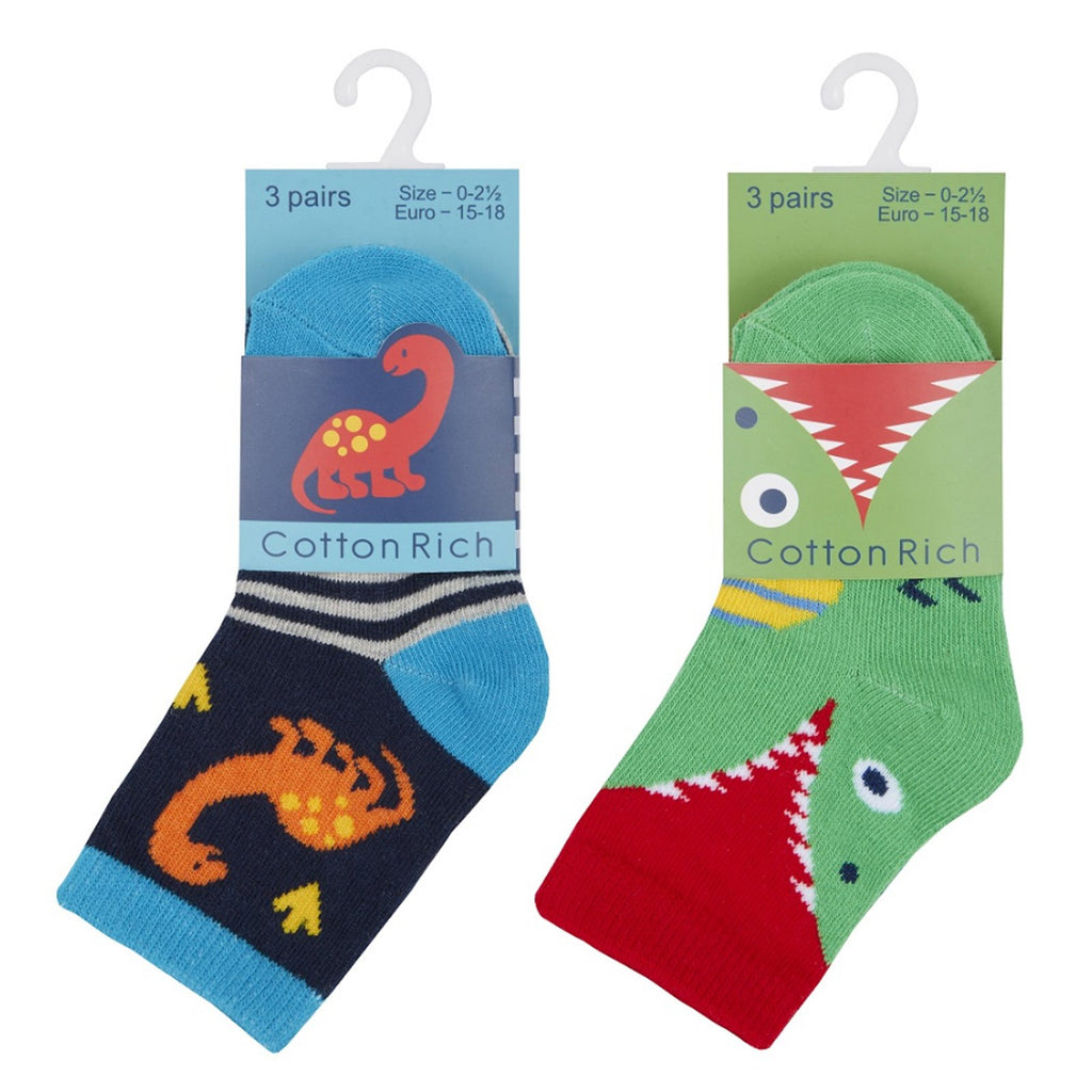 Baby Boys 3 Pack Cotton Rich Dinosaur Design Ankle Socks (ASSORTED SIZES) 44B784