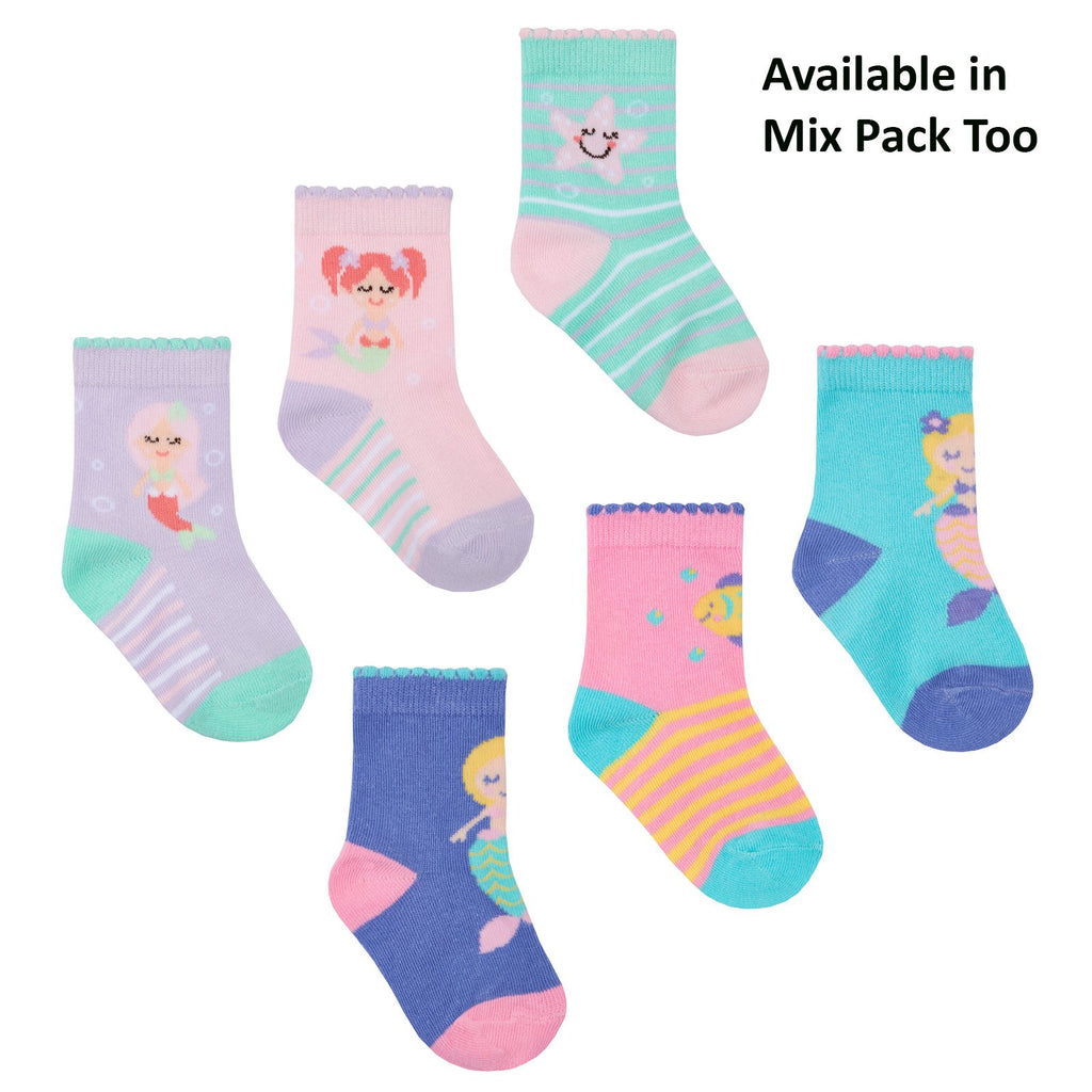 Baby Girls 3 Pack Cotton Rich Mermaid Design Ankle Socks (SHOE SIZE 3-5.5) 44B799