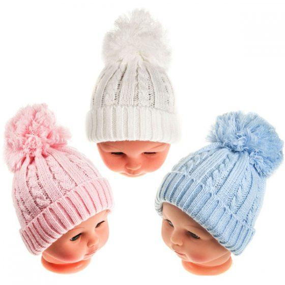 Large Cable Pom Pom Winter Hat 12-24M (H472-M)