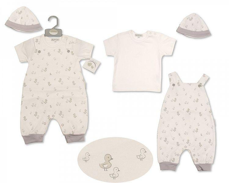 Baby Dungaree Set with Hat - Little Ducklings (BIS-2099-2208)