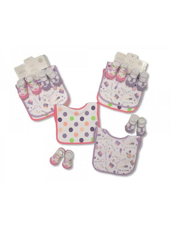 Baby Bibs and Socks Gift Set - Girls