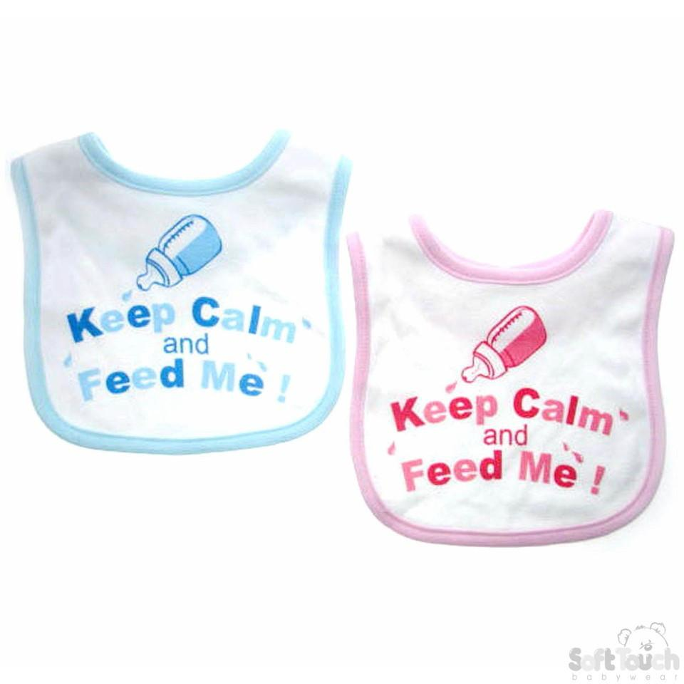"""KEEP CALM AND FEED ME"" VELCRO BIB: P4705"