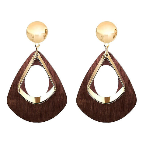 Gold Plated Geometrical Wooden Tear Drop Earrings