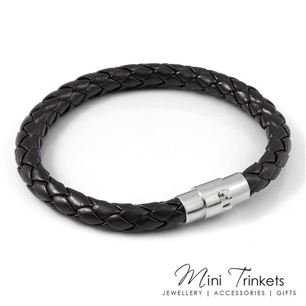 Black Magnetic Braided Leather Bracelet