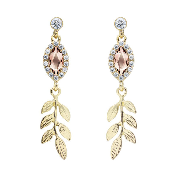 Marquise Crystal Gold Leaf Drop Earrings