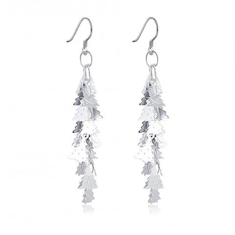 Silver Plated Christmas Tree Cluster Drop Earrings