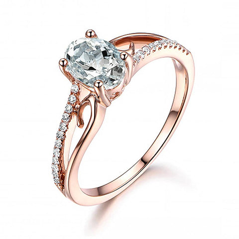 Cubic Zirconia Oval Rose Gold Ring