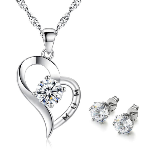 925 Silver Plated Cubic Zirconia Mum Heart Necklace + Stud Earrings Set