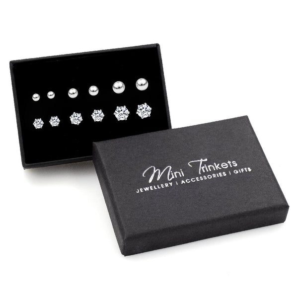 925 Sterling Silver Ball & Cubic Zirconia Stud Earring Set