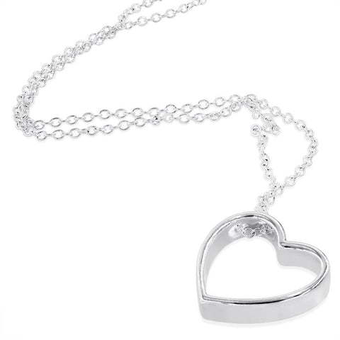 Silver Plated Silhouette Heart Necklace