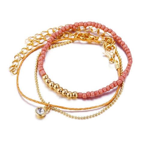 3 piece multi-layered gold beaded bracelet - Pink