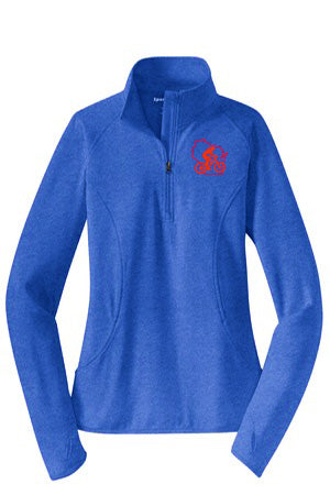 A WWCycling Club Jacket - Ladies in Royal Heather (1/2-Zip Pullover)