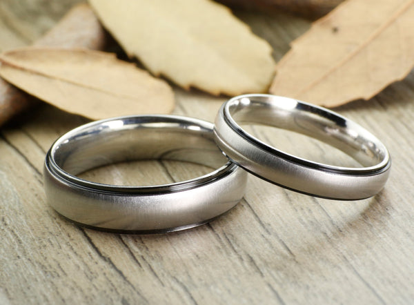 Black Any US UK Size Handmade Groom&Bride His and Her Wedding Engagement Anniversary Titanium Couple Rings Set Court Shape - jringstudio
