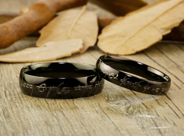 Handmade Black Dome shape Custom Your words in Elvish, Lord of the Rings , Matching Wedding Bands, Couple Rings Set, Titanium Rings Set, Anniversary Rings Set - jringstudio