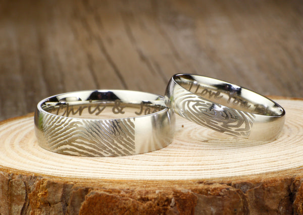 Your Actual Finger Print Rings, Custom Gifts His and Her Promise Rings  - Matt Silver Wedding Titanium Rings Set