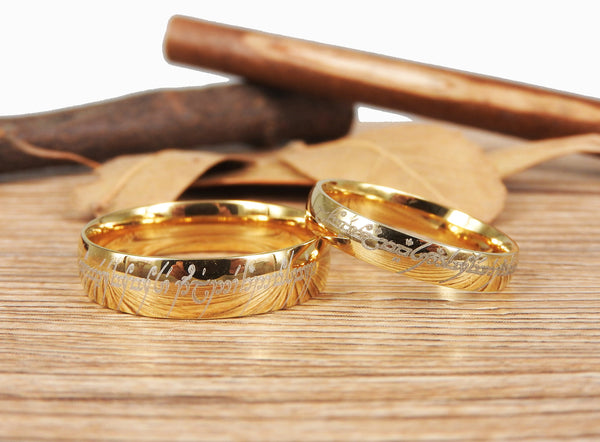 Handmade Gold Dome Shape Custom Your words in Elvish, Lord of the Rings , Matching Wedding Bands, Couple Rings Set, Titanium Rings Set, Anniversary Rings Set