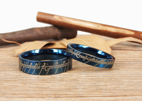 Handmade Blue Flat Polish Custom Your words in Elvish, Lord of the Rings , Matching Wedding Bands, Couple Rings Set, Titanium Rings Set, Anniversary Rings Set - jringstudio