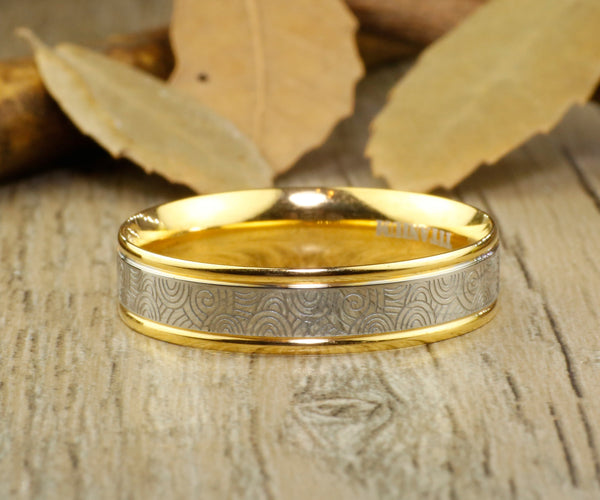 Handmade Gold Wedding Band, Men Ring, Couple Ring, Titanium Ring, Anniversary Ring, Promise Ring