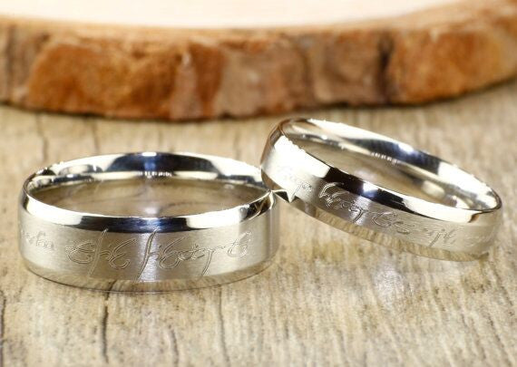 Custom Personalized Your words in Elvish Tengwar Lord of the Rings Matt Blue Wedding Anniversary Titanium Rings Set - jringstudio