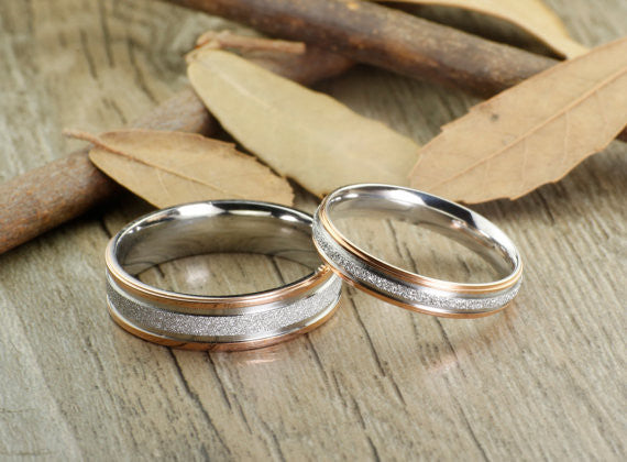 Handmade Rose Gold Matching Wedding Bands, Couple Rings Set, Titanium Rings Set, Anniversary Rings Set