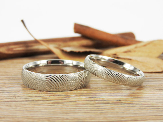 Your Actual Finger Print Rings, Family Fingerprints, Matching FingerPrint Ring,His and Hers Polish Wedding Bands Rings Titanium Rings Set