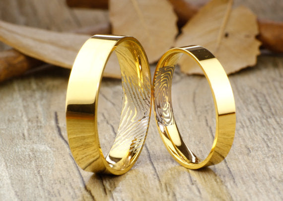 Your Actual Finger Print Personalized Rings Gold Flat Plain, His and Her Matching Wedding Bands, Titanium Rings Set, Anniversary Rings