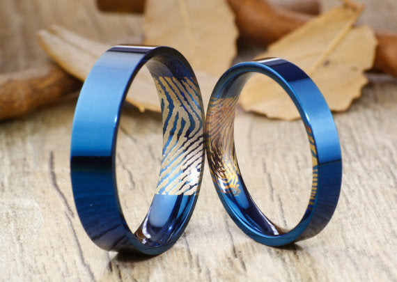 Your Actual Finger Print Rings, Handmade Blue Flat Plain Matching Wedding Bands, His and Her Couple Ring, Titanium Anniversary Rings Set
